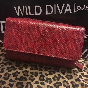 Handbags - NWOT Embossed red leather large wallet